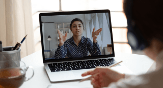 A person on a video call